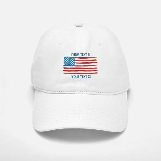 [Your Text] 'Handmade' US Flag Baseball Baseball Cap
