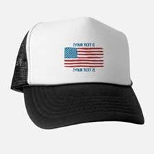 [Your Text] 'Handmade' US Flag Trucker Hat