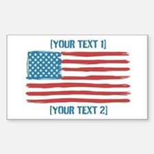 [Your Text] 'Handmade' US Flag Sticker (Rectangle)