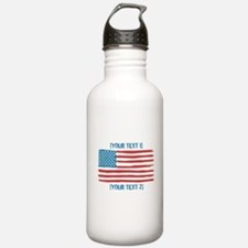 [Your Text] 'Handmade' US Flag Sports Water Bottle
