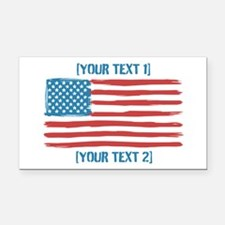 [Your Text] 'Handmade' US Flag Rectangle Car Magne