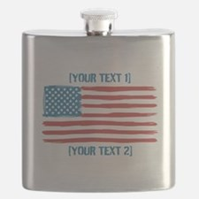 [Your Text] 'Handmade' US Flag Flask