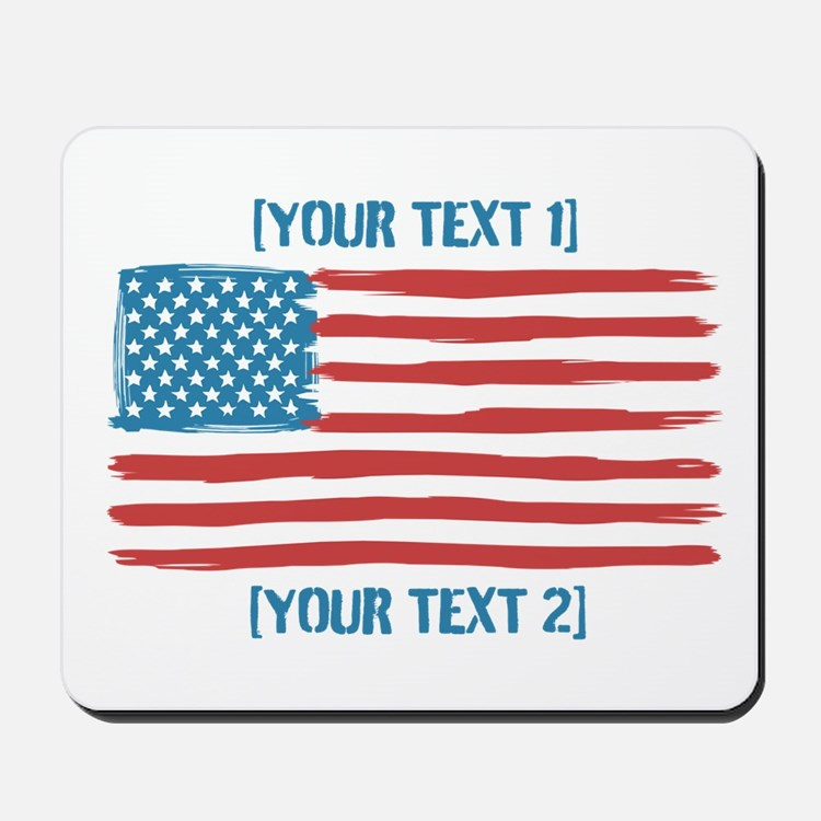 [Your Text] 'Handmade' US Flag Mousepad