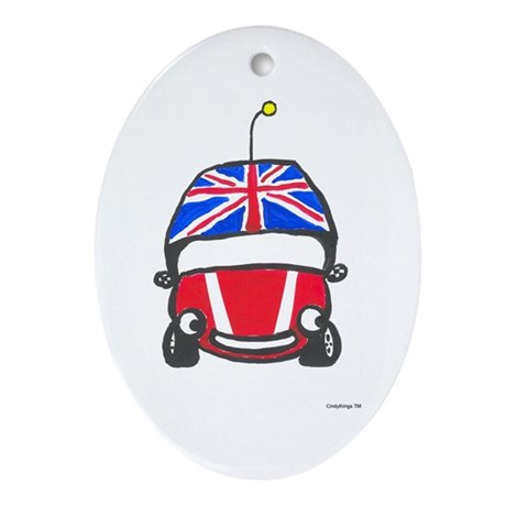 Little Red Car Oval Ornament