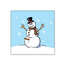 "Naughty Snowman Square Sticker 3"" x 3"""