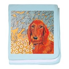 """""""Long Haired Dachshund"""" baby blanket"""