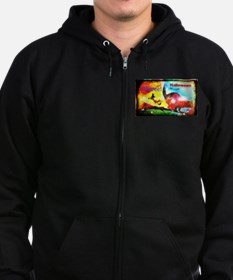 Halloween Fly By2 Men's Zip Hoodie