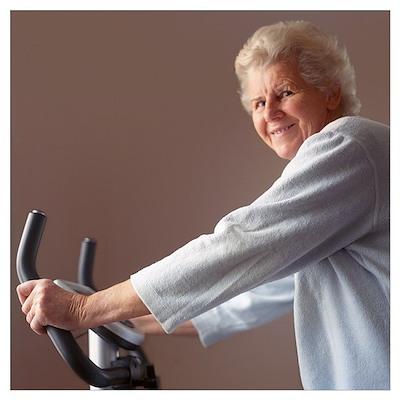 Elderly woman exercising Poster