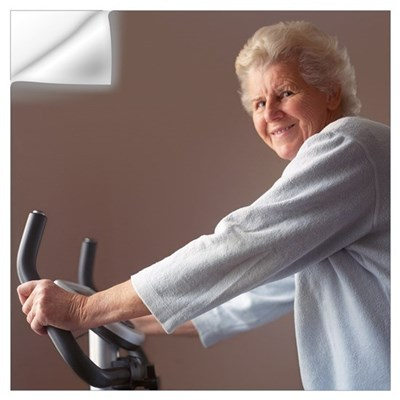 Elderly woman exercising Wall Decal