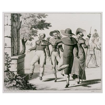 Engraving of a pilgrimage of epileptics Poster