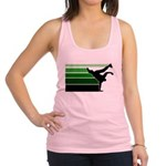 break gradient green blk Racerback Tank Top