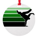 break gradient green blk Round Ornament