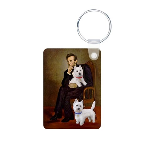 Lincoln-2Westies Aluminum Photo Keychain