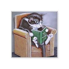 "Reading Cat Square Sticker 3"" x 3"""