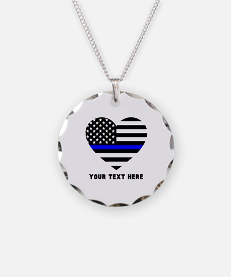 Thin Blue Line Love Necklace