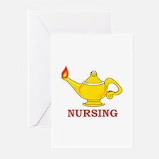Nursing Lamp with Nursing Text Greeting Cards (Pk