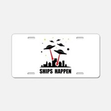 UFO Ships Happen Aluminum License Plate