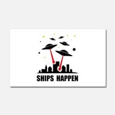 UFO Ships Happen Car Magnet 20 x 12