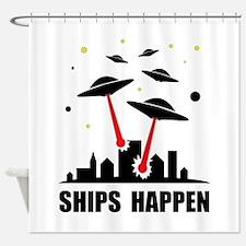 UFO Ships Happen Shower Curtain