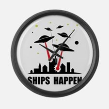 UFO Ships Happen Large Wall Clock