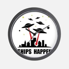 UFO Ships Happen Wall Clock
