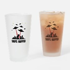UFO Ships Happen Drinking Glass