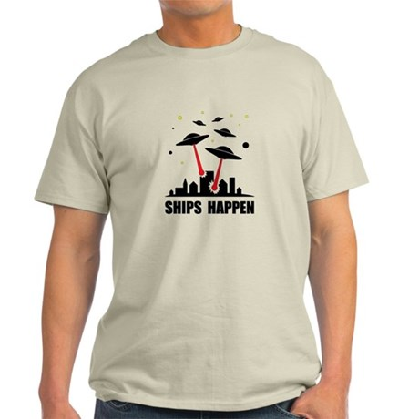 UFO Ships Happen Light T-Shirt