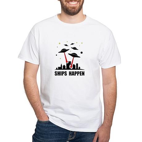 UFO Ships Happen White T-Shirt