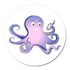 Purple Octopus Round Car Magnet