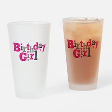 Pink Birthday Girl Star Drinking Glass