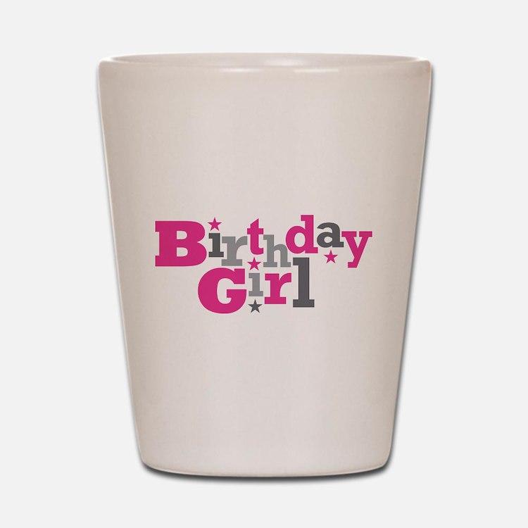 Pink Birthday Girl Star Shot Glass