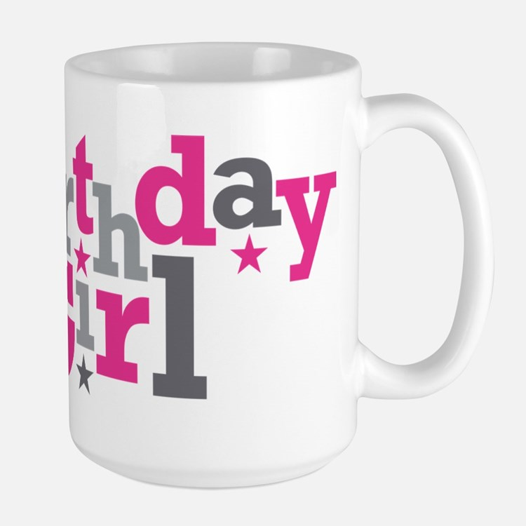 Pink Birthday Girl Star Large Mug