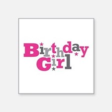 """Pink Birthday Girl Star Square Sticker 3"""" x 3"""