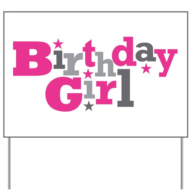 Pink Birthday Girl Star Yard Sign By Starstreamdesign