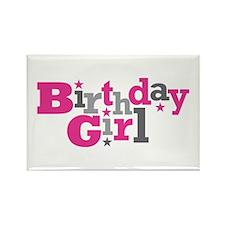 Pink Birthday Girl Star Rectangle Magnet