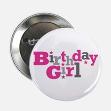 "Pink Birthday Girl Star 2.25"" Button"