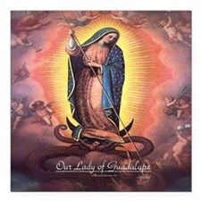 """Our Lady of Guadalupe Rev 12 Square Car Magnet 3"""""""
