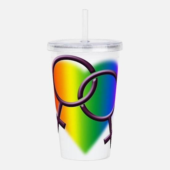 Rainbow Love Gay Pride Acrylic Double-wall Tumbler