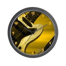 Sun Stained Yellow Abstarct Guitar Wall Clock