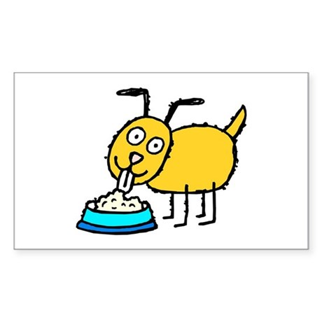 Yellow cartoon dog eating out of blue bowl Sticker