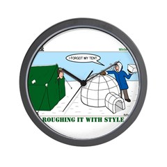 Winter Camping Wall Clock