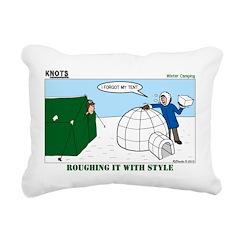 Winter Camping Rectangular Canvas Pillow