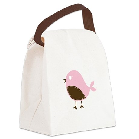 Pink Bird Canvas Lunch Bag