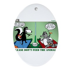 Skunk and Raccoon Snack Ornament (Oval)