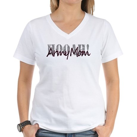 Army Mom HOOAH T Women's V-Neck T-Shirt