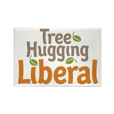 Tree Hugging Liberal Rectangle Magnet