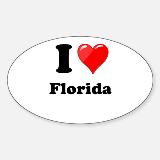 I Heart Love Florida.png Sticker (Oval)