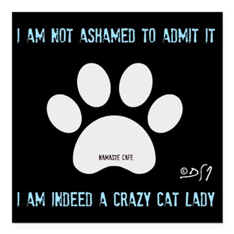 "Crazy Cat Lady Square Car Magnet 3"" x 3"""