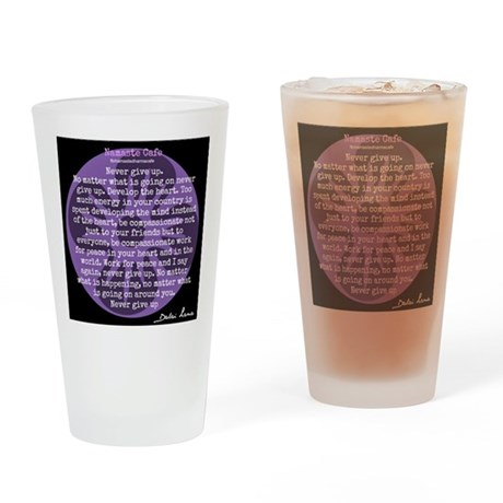 Never Give Up, Dalai Lama Quote Drinking Glass