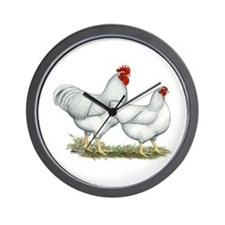 White Rock Chickens Wall Clock